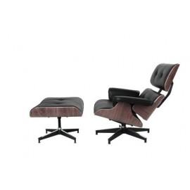 Fotel Vip z podnóżkiem czarny/walnut/standard base