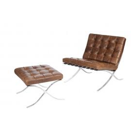 Fotel z podnóżkiem BA1 brąz c. vintage skóra