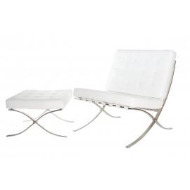 Fotel z podnóżkiem BA1 skóra biała