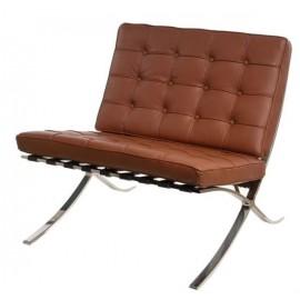 Fotel z podnóżkiem BA1 skóra naturalna brązowa j.