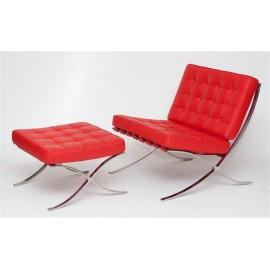 Fotel z podnóżkiem BA1 skóra czerwona