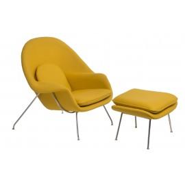 Fotel z podnóżkiem Snug żółty