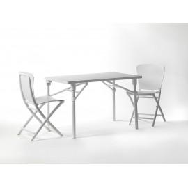 Stół i 4 krzesła składane Zac biały
