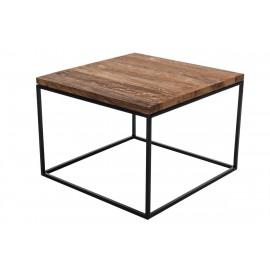 Stolik Cube 60x60 czarny profil 15 mm blat lakierowany dąb naturalny
