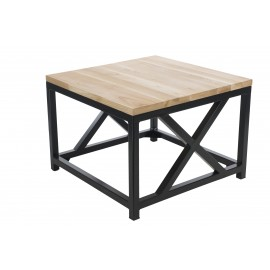 Stolik Loft 60x60 czarny profil 30 mm blat lakierowany z czereśni naturalny