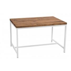 Stół Cohen 120x80 biały profil 30mm blat olejowany dąb szczotkowany