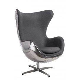 Fotel Jajo aluminium kaszmir szary jasny
