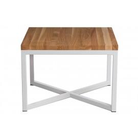 Stolik Square 45x45 biały płasko. 40 mm blat lakierowany z czereśni naturalny