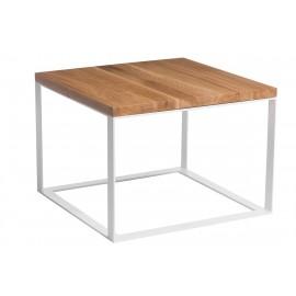Stolik Square 45x45 biały płasko. 40 mm blat lakierowany dąb naturalny