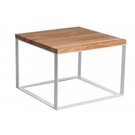 Stolik Square 60x60 biały płasko. 40 mm blat lakierowany z czereśni naturalny