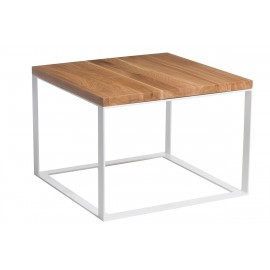 Stolik Square 60x60 biały płasko. 40 mm blat lakierowany dąb naturalny