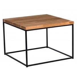 Stolik Cube 45x45 czarny profil 15 mm blat lakierowany z czereśni naturalny