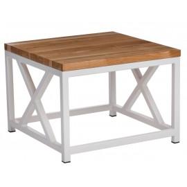 Stolik Loft 45x45 biały profil 30 mm blat lakierowany z czereśni naturalny