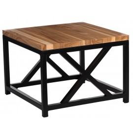 Stolik Loft 45x45 czarny profil 30 mm blat lakierowany z czereśni naturalny