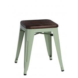 Stołek Paris Wood zielony sosna szczotko