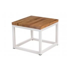 Stolik Cube 45x45 biały profil 30 mm blat lakierowany z czereśni naturalny