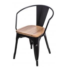 Krzesło Paris Arms Wood czarne siedzisko jesion outlet