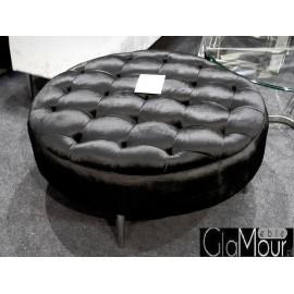 Czarna okrągła pufa do salonu 90x90x42cm POUF003