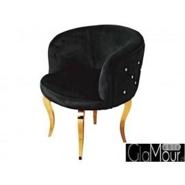 Elegancki fotel czrno-złoty do salonu 60x60x72cm FC39
