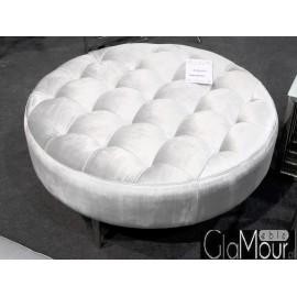 Okrągła pufa do salonu w kolorze srebrnym 90x90x42cm POUF003
