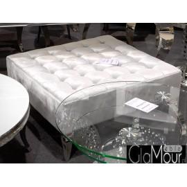 Pufa w kolorze srebrnym z kryształkami 90x90x42cm POUF002