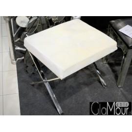 Elegancki taboret do toaletek biały welur LW-618