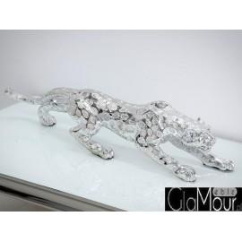 Srebrna figura geparda 98x20x13cm 1013