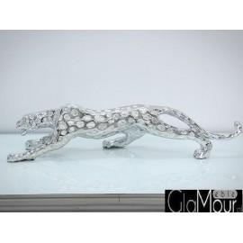 Figura Geparda w kolorze srebrnym 76x15x21cm 1012