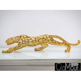 Złota figura geparda 98x20x13cm 1013