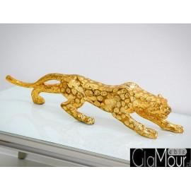Złota figura geparda 76x15x21cm 1012