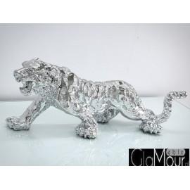 Figura tygrysa w odcieniu srebrnym 77x22x28cm 1086