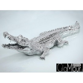 Srebrna figura krokodyl 87x30x22 2053