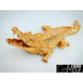 Figura krokodyla w odcieniu złotym 87x30x22cm 2053
