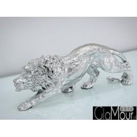 Figura lew w srebrnej barwie LEW 55x15x19cm A014