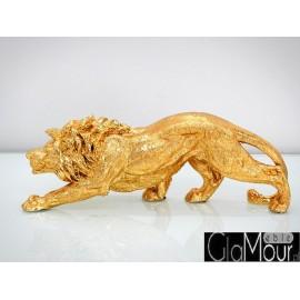 Stylowa złota figura lew 55x15x19cm A014