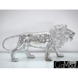 Błyszcząca figura lwa w srebrnej barwie A116