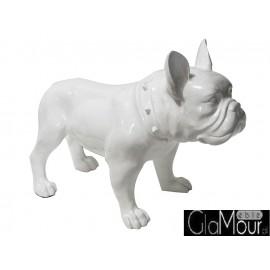 Biała figura pies buldog 64x54x29cm A216