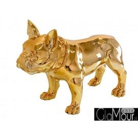 Złota figura pies buldog 64x54x29cm A216