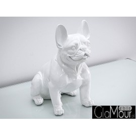 Biała figura pies buldog francuski 43x42x22cm A258