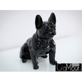 Czarna figura pies buldog francuski 43x42x22cm A258