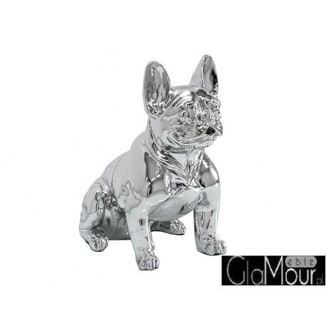 Figura pies buldog francuski w srebrnym kolorze 43x42x22cm A258