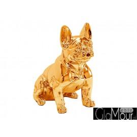 Figura pies buldog francuski w złotym kolorze 43x42x22cm A258