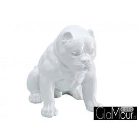 Biała figura siedzącego psa 51x42x30cm A259