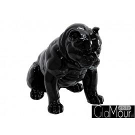 Czarna figura siedzącego psa 51x42x30cm A259
