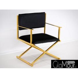 Elegancki fotelik w kolorze czarno-złotym 64x56x83cm FC43