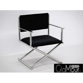 Elegancki fotelik w kolorze czarno-srebrnym 64x56x83cm FC43