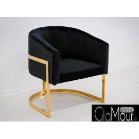 Elegancki fotelik w kolorze czarno-złotym 86x65x92cm FC40