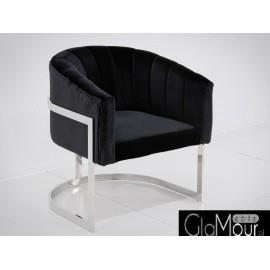 Elegancki fotelik w kolorze czarno-srebrnym 86x65x92cm FC40