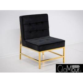 Elegancki fotelik w kolorze czarno-złotym 75x68x95cm FC41
