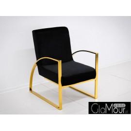 Elegancki fotelik w kolorze czarno-złotym 86x65x92cm FC42